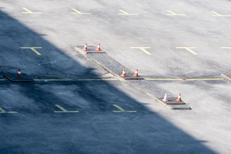 High angle view of traffic cones on road