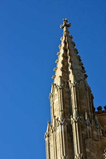 detail of of Palma di Maiorca cathedral Religion Low Angle View Belief Spirituality Architecture Place Of Worship No People Outdoors Ornate Detail Close-up Cathedral Building Exterior The Past History Palma De Mallorca Clear Sky Gothic Architecture Gothic Style Sky