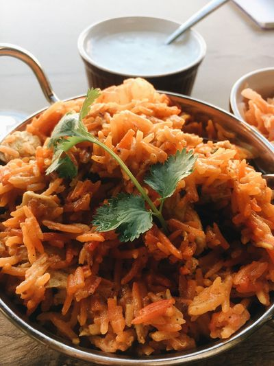 Briyani Food Food And Drink Freshness Ready-to-eat Indoors  Healthy Eating Bowl Still Life Kitchen Utensil No People Serving Size Table Meal Wellbeing Close-up Italian Food High Angle View Vegetable Fried Eating Utensil