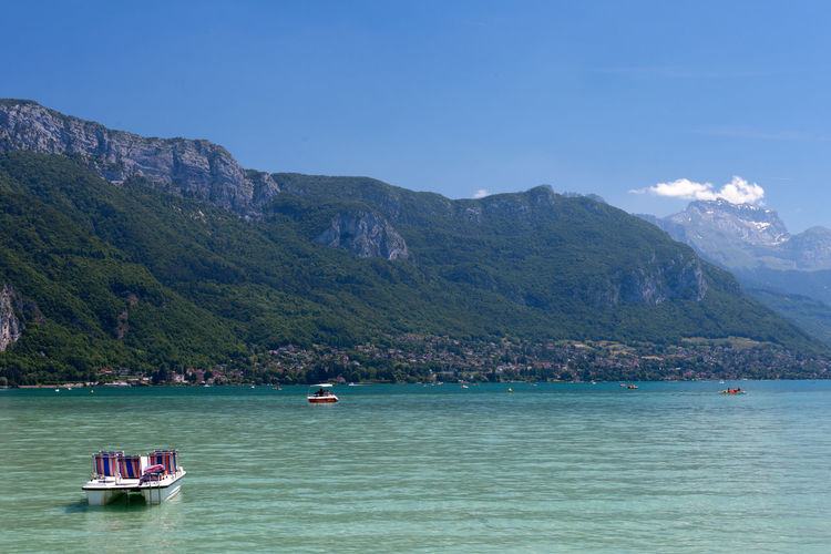 Nautical Vessel Mountain Water Transportation Nature Vacations Outdoors Lake Day Scenics Beauty In Nature Landscape No People Sky Annecy France Haute-Savoie l Lake View Travel Tourism Tranquility Boat Holiday Rhonealpes EyeEm Nature Lover