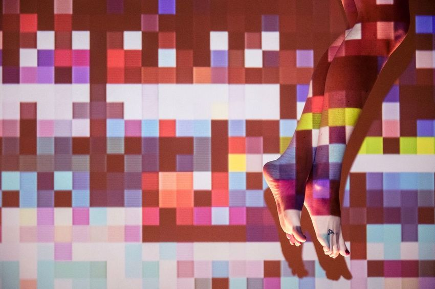 Shoes on the Ceiling. Shot using a cheap projector and a bunch of images I pixelated. Adult Human Body Part Women Human Leg AI Now! Low Section One Woman Only Adults Only Multi Colored One Person Indoors  Pixelated Projection EyeEm Ready