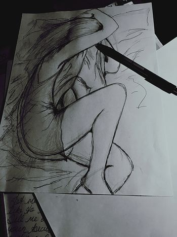 This is how I miss Daniel ... with a piece of paper and a pen. Also when I go to bed. Self Portrait That's Me Missing You