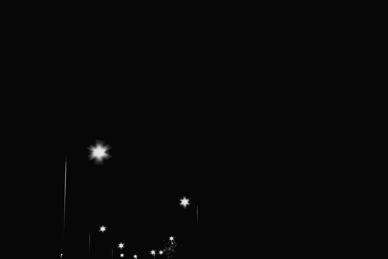 night, illuminated, copy space, low angle view, street light, no people, outdoors, sky, nature