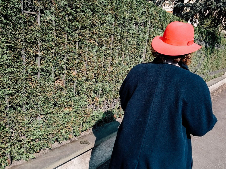 Alone Coat Garden Green Hat Miss Old Woman Outdoors Red Tree Waling Around Walking Woman