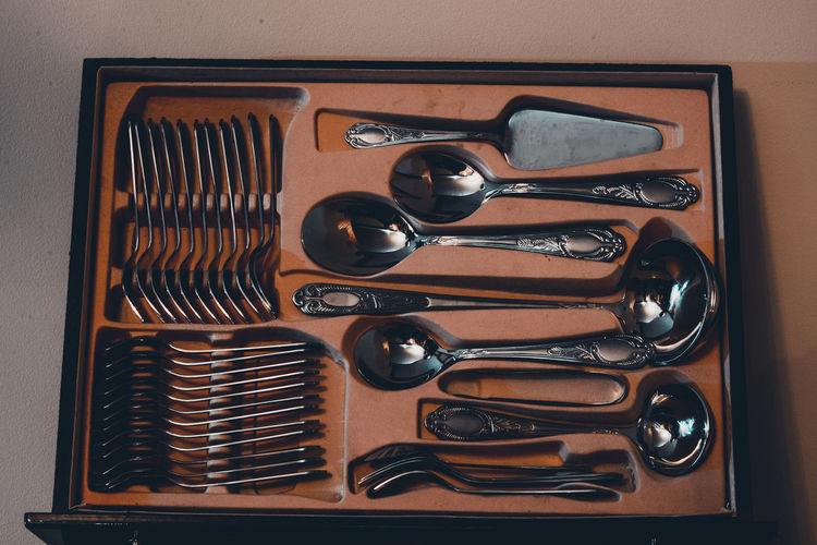 High angle view of spoons in box