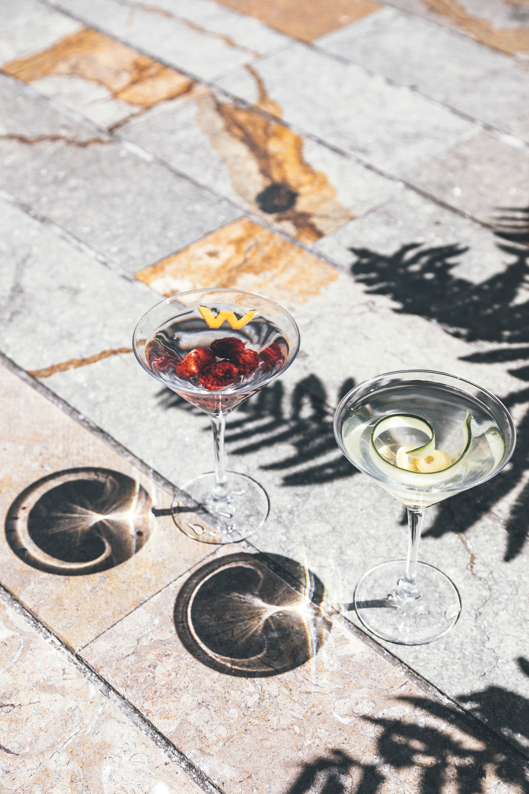 high angle view, no people, food and drink, drink, glass, table, household equipment, wine glass, food, refreshment, flooring, drinking glass, sunlight, art, day, outdoors, wine, alcohol, nature, shadow, circle