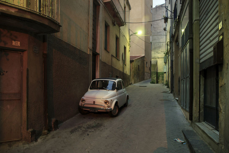 Old Town Old Italian Style Architecture Building Exterior Built Structure Car Fiat500 Illuminated Land Vehicle Mode Of Transport Night No People Old Italian Car Outdoors Sky Street Transportation