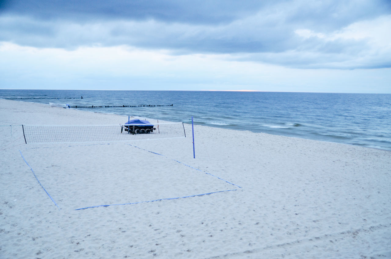 Baltic Sea Bansin Beach Volleyball Beauty In Nature Cloud Cloudy Horizon Over Water Idyllic Mode Of Transport Nature No People Ostsee Outdoors Overcast Remote Sand & Sea Scenics Sea Shore Sky Tranquil Scene Tranquility Vacations Water Weather