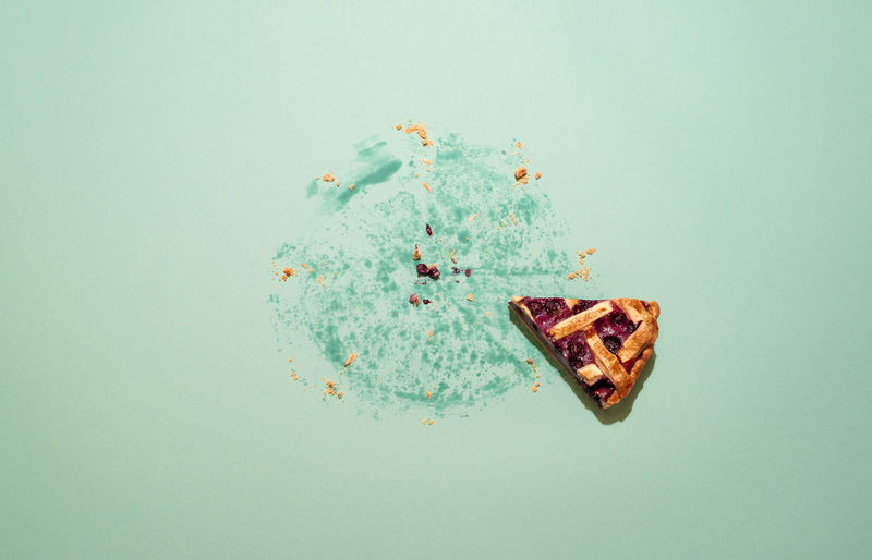 High angle view of food on blue background