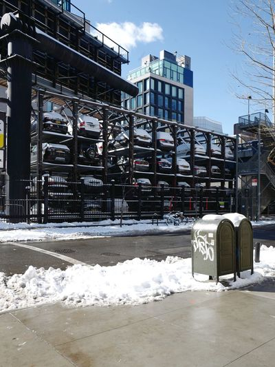 10th Avenue, Feb. 2017 Stack Stacked Carpark Car Parking Chelsea NYC Chelsea Snow Winter Architecture No People NYC Manhattan Urban Geometry Urbanphotography Urban Photography Streetphoto_color Leicaq LEICA Q