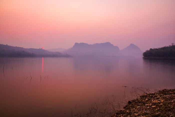 Beauty In Nature Chiangrai Day Fog Idyllic Lake Landscape Mountain Mountain Range Nature No People Outdoors Reflection Scenics Sky Sunset Tranquil Scene Tranquility Travel Destinations Tree Water