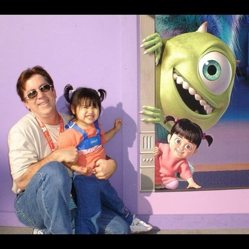 I love this! This is a picture of my little sister and my Dad in Disneyland. Disneyland Fatherdaughter Dadandsister Family toofunny lookalikes goofys monstersinc.