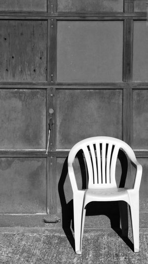 sit on it. ['aaaaay...' I'm cultivating my inner Fonzie. Highly recommended! 👍] Empty Chair Emptiness Absence Longing Nostalgia Monochrome Black & White Light And Shadow Copy Space