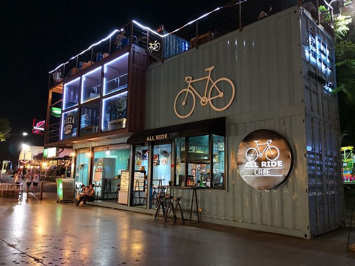 Asiatique The Riverfront Architecture Bicycle Building Building Exterior Cafe Communication Neon Night Store Sign
