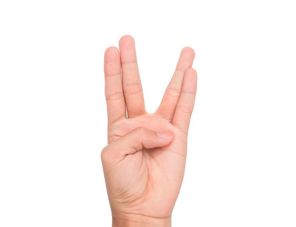 Hand sign of four, fourth, etc. with white background Communication Conceptual Four Fourth Gestures Human Finger Message Nails Palm Separation Sign Studio Shot Symbol Thumb White Background Wrist
