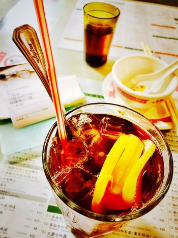 Tea 凍檸茶 茶餐廳 Drink Food And Drink Refreshment Indoors  Table Still Life Freshness