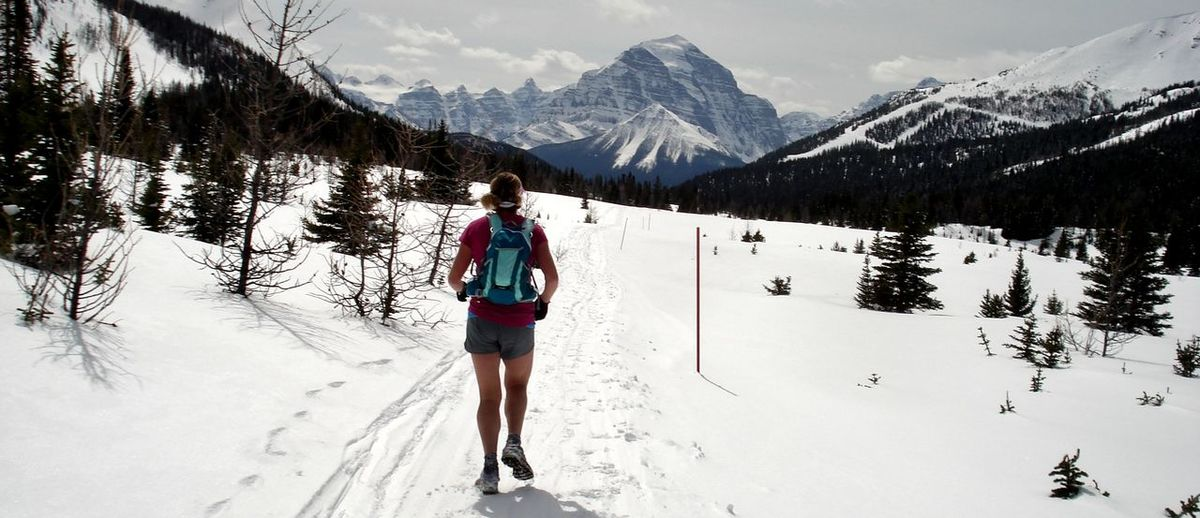 Adventure Banff National Park  Cold Cold Temperature Composition Covering Day Female Runner Frozen Lake Louise Ski Hill Landscape Mountain Perspective Season  Snow Snow Covered Snowcapped Weather White White Color Winter