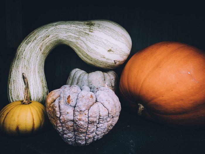 High angle view of pumpkins on table