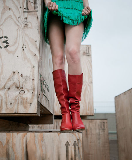 borderline blues Art Borderline Green Skirt Knee Mood Red Boots Scars Sexy Girl Sexygirl Skirt