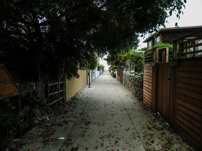 curb appeal is not from the street for Venice homes that require garages and carports to be the first accessable thing from the street. these secluded walkways between homes cut through the centers if many blocks, all heading to or from the beach. it's from these walkways that you get the true curb appeal and personality of a home. Same principle applies of course to all homes along the boardwalk. Venice Beach Venice California Locals ONLY Pathway