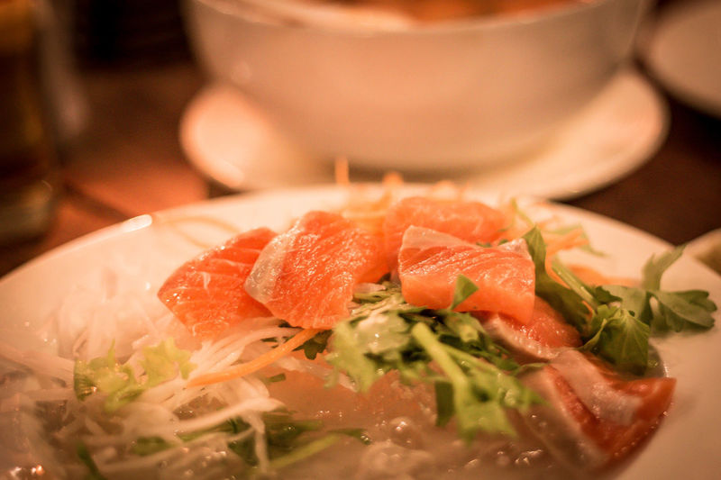 Close-up of fish served in bowl on table