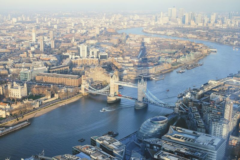 Cityscape Architecture City River Aerial View Connection Bridge - Man Made Structure Built Structure Building Exterior Transportation Travel Destinations Nautical Vessel Water Cultures No People Outdoors Day Sky London London Lifestyle Theshardlondon