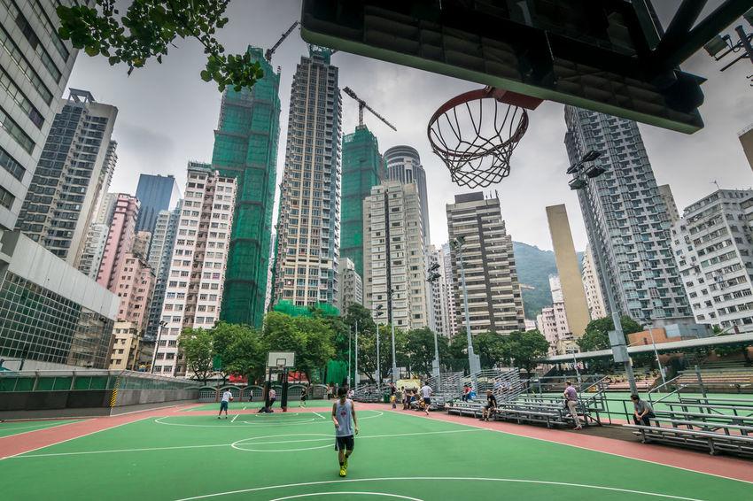 Hong Kong Basketball Basketball City City Life Court Downtown HKG Hobby HongKong Hoop Low Angle View Perspective Skyscraper Sport Streetball Urban