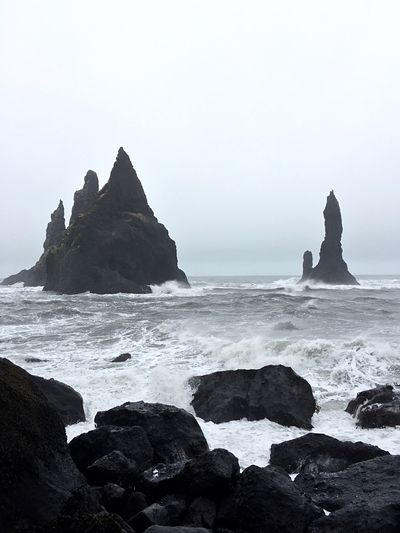 Iceland Stone Volcanic Landscape Volcanic  Sea Water Rock Sky Rock - Object Solid Land Scenics - Nature Beauty In Nature Horizon Over Water Rock Formation Tranquility Nature Horizon Tranquil Scene No People Stack Rock Day