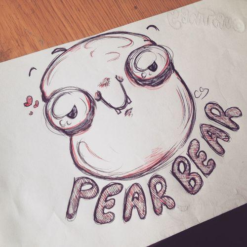 Cute Creepy Fruit Drawing Doodle Cartoon Art Work Flow Bored Pear