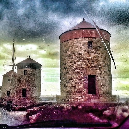 Mills Windmills Clouds Rain Dark Sea Rhodes Greece 2014
