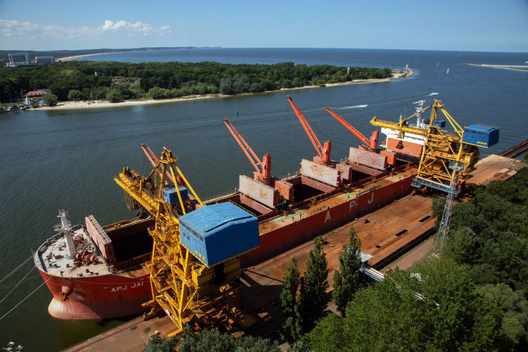 Baltic Sea Business Day Fishing Boat High Angle View Industry Land Mode Of Transportation Moored Nature Nautical Vessel No People Outdoors Plant Port Sea Ship Sky Sunlight Transportation Water