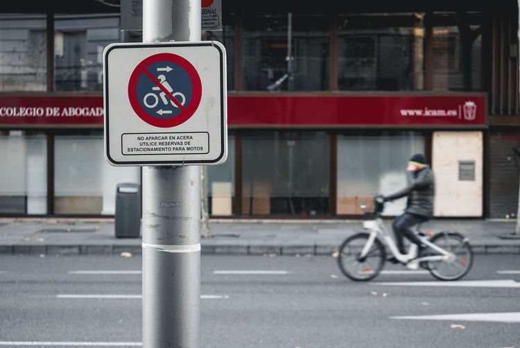 Madrid street sign Road Sign Bicycle Information Sign Outdoors SPAIN Spanish Street Pole