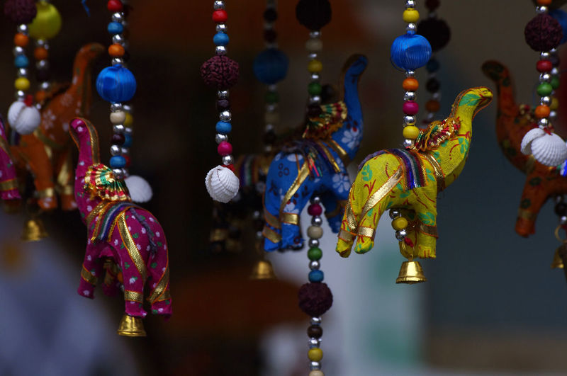 Close-Up Of Colorful Animal Decoration For Sale At Market