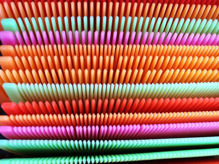 Full frame shot of multi colored combs