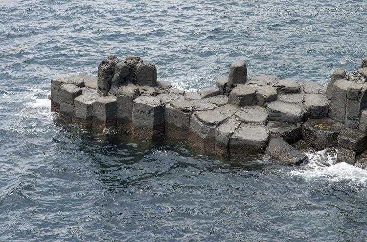 view of columnar joints (jusangjeolli) at Jungmun Tourism Complex in Jeju Island, South Korea Beauty In Nature Close-up Columnar Joints Day JEJU ISLAND  Jungmun Tourism Complex Jusangjeolli Nature No People Outdoors Sea Seaside Water Waterfront Wave