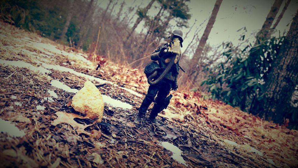 """As I walked my heart grew blacker, I relized I had nothing left to hold me back, nothing left to keep me from becoming a monster."" -Barguest De Plume/daft ThreeA Barguestdeplume Dark Postapocalyptic Gasmask War Worldwarrobot Forest Toyphotography Photography"