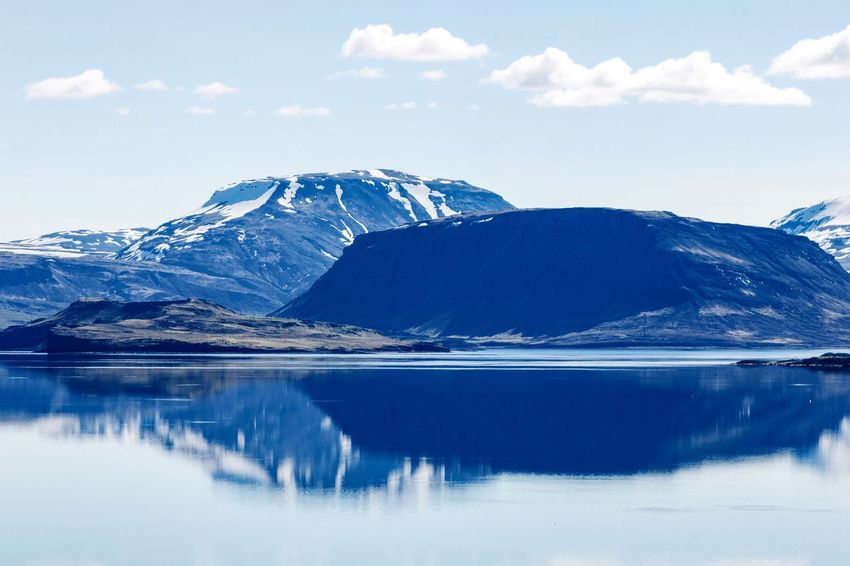 •mirrored• Water Tranquil Scene Reflection Lake Tranquility Scenics Beauty In Nature Mountain Sky Waterfront Season  Nature Idyllic Mountain Range Cloud - Sky Calm Blue Majestic Cloud Day Mirrored Exceptional Photographs Tadaa Community Iceland Roadtrip