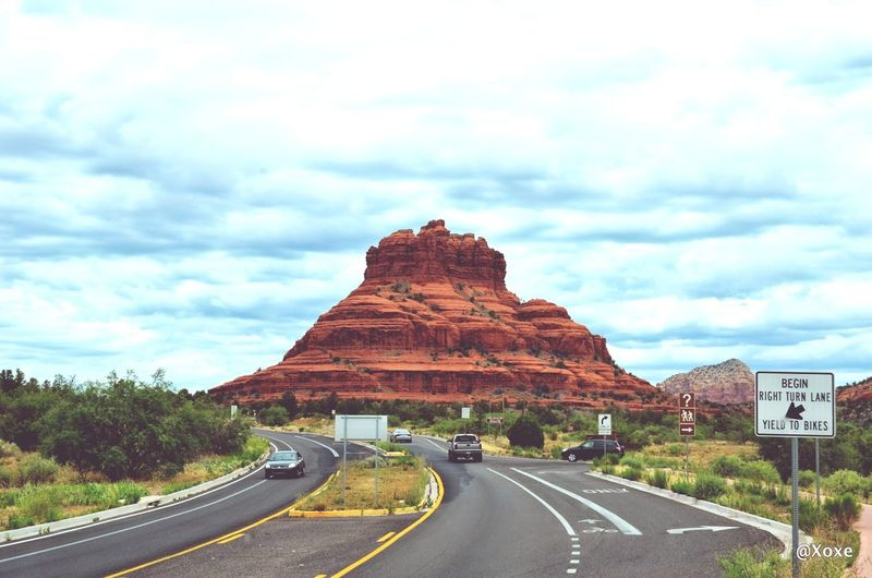 Bell Rock Summer Road Tripping Road Mountain Desert Sky Landscape Cloud - Sky Travel Road Marking Empty Road Asphalt
