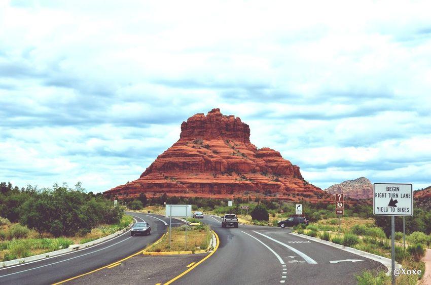 Bell Rock Summer Road Tripping Road Mountain Desert Sky Landscape Cloud - Sky Travel Road Marking Empty Road Asphalt