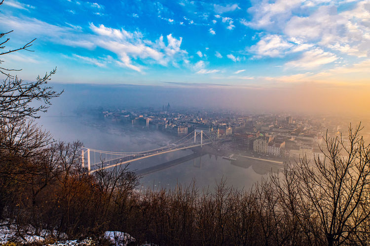 Scenic view of budapest during sunset