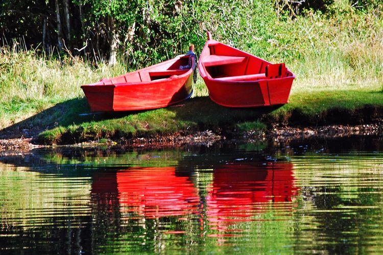 Red boats Water