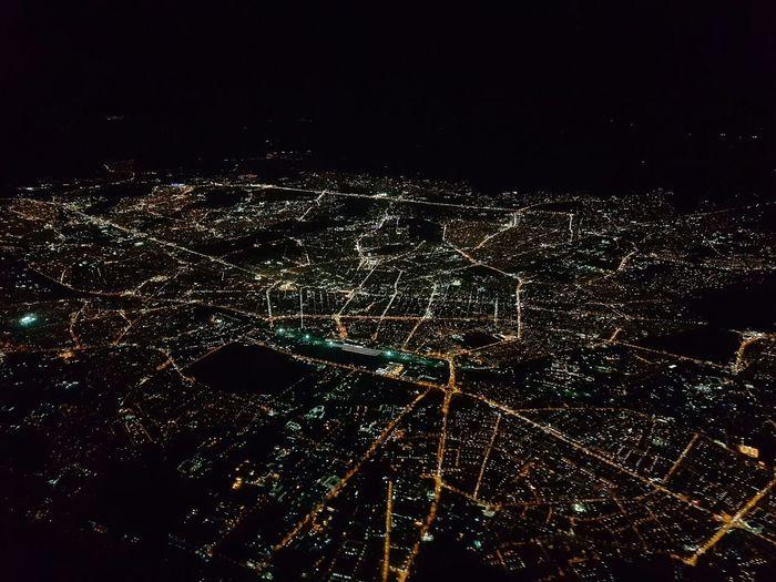 City Night Aircraft Birds Eye View Streets Sofia Bulgaria Europe