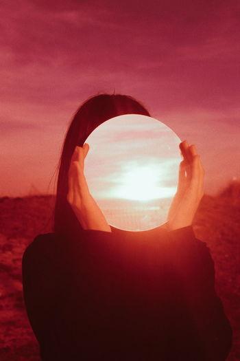 Sunset Red Silhouette Desert Sky Close-up Sky Only Sun Sunrise Geometric Shape Orange Color Shining Optical Illusion