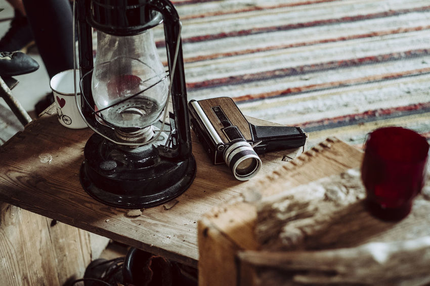 Antique Camera - Photographic Equipment Camping Lifestyles No People Oil Lamp Old-fashioned Retro Retro Styled Rustic Super 8 Table Vanlife Wood - Material