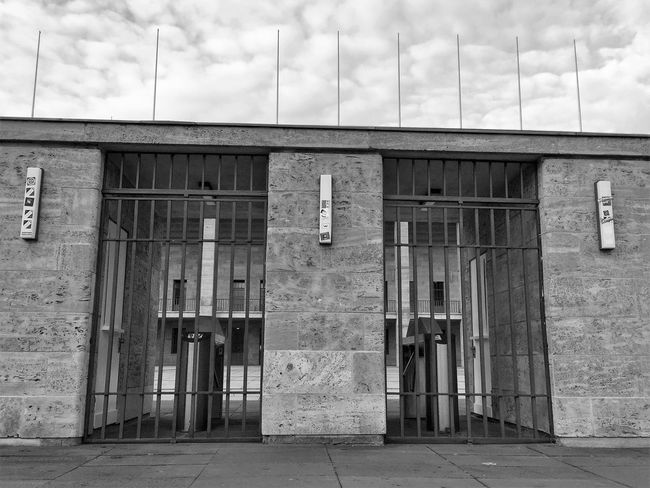Architecture Berlin Black & White Black And White Blackandwhite Building Exterior Built Structure Closed Cloud - Sky Day Empty Entrance Horizontal Monochrome Monochrome Photography No People Olympic Stadium Outdoors