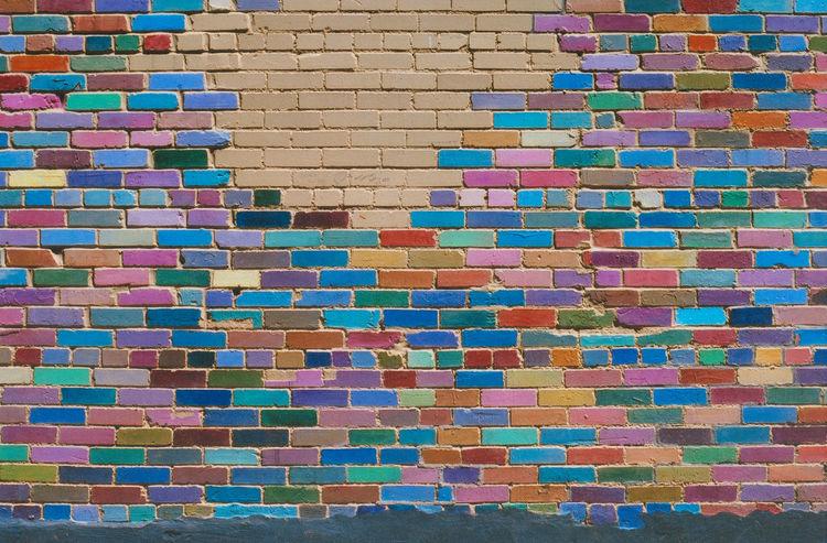 Rainbow wall Abstract Architecture Backgrounds Brick Wall Built Structure Close-up Day Design Mamiya Mediumformat Mediumformatphotography Modern Multi Colored No People Pattern Slidefilm