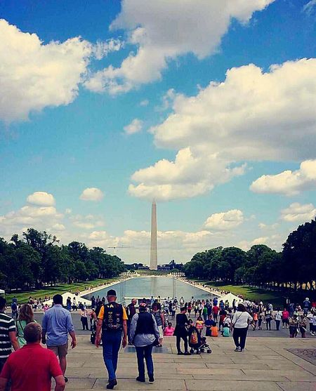 Beautiful reflecting pool leading to Washington monument. Working hard has its perks. Travel WashingtonDC Washington Monument Reflecting Pool Washington DC, Maryland Beautiful Day Historic Adventure