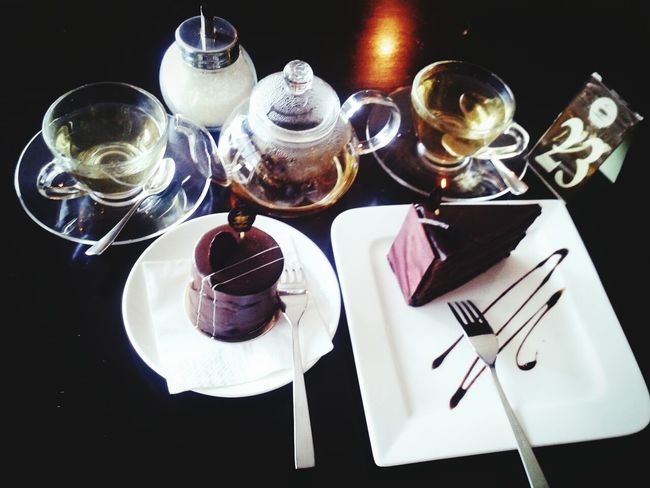 good tea and good cake with good friend Cake Tea Chocolatecake Cafe Food Foodporn Foodphotography