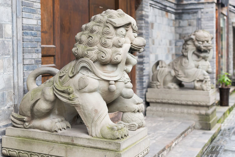 stone lions Lion Architecture Art And Craft Belief Building Exterior Built Structure Chinese Decor Craft Creativity Day Decoration Focus On Foreground History Human Representation Male Likeness No People Ornate Religion Representation Sculpture Spirituality Statue Stone Lion The Past