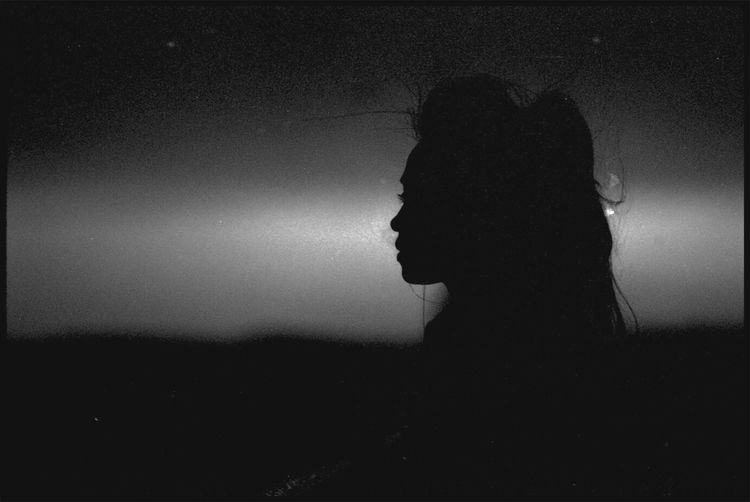 Silhouette One Person People Sky Only Women Women Adult Adults Only Young Adult Young Women Night Monochrome Bnw EyeEmNewHere Film Photography